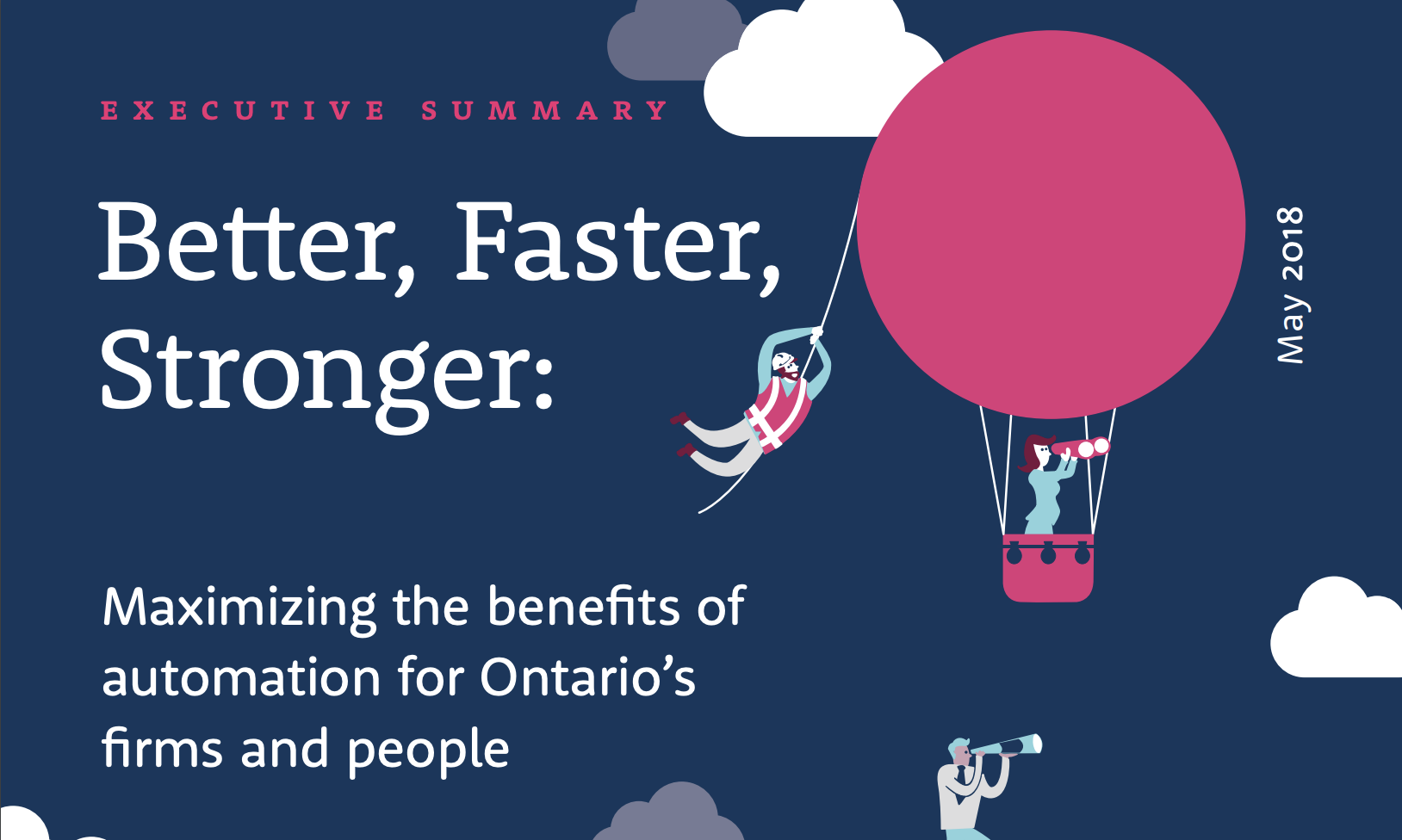 """Automation For Business Featured Image: Cover page for a PDF report entitled """"Better, Faster, Stronger"""""""
